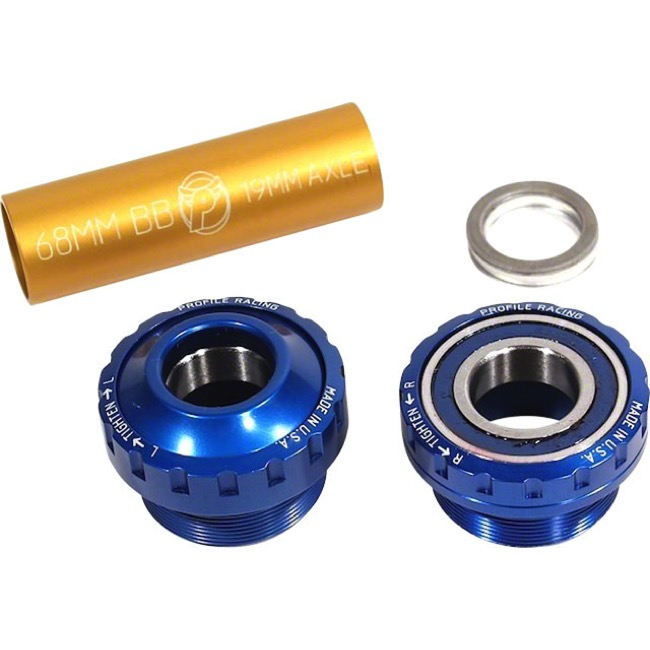 Profile Racing Outboard Bearing Bottom Bracket - Euro BB Set, Fits 19mm spindle (Blue)