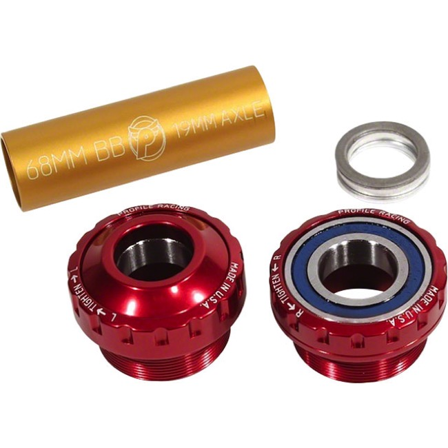 Profile Racing Outboard Bearing Bottom Bracket - Euro BB Set, Fits 19mm spindle (Red)