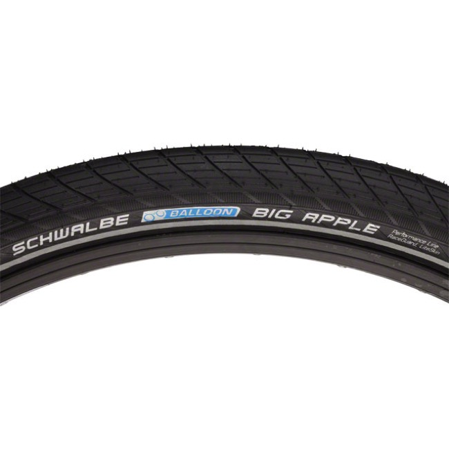"Schwalbe Big Apple Performance 26"" Tire - 26 x 2.0"" Reflective Sidewall (Black)"