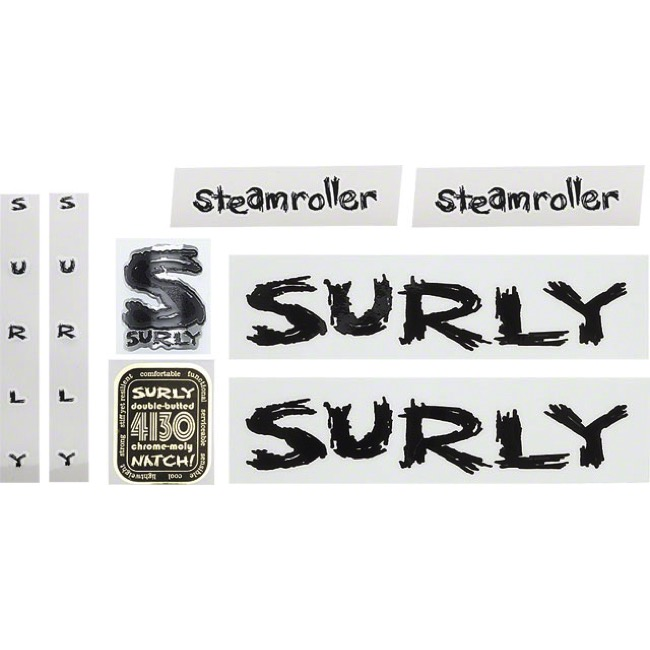 Surly Steamroller Frame Decal Set w/Headbadge - Black