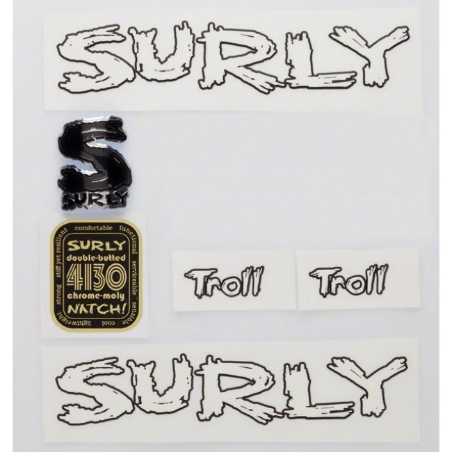 Surly Troll Decal Set w/Headbadge - White