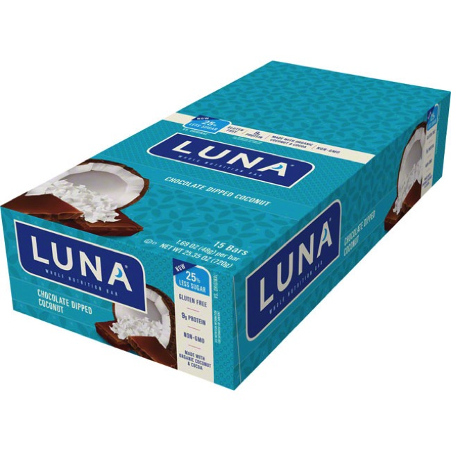 Clif Bar Luna Bars - Dipped Chocolate Coconut (Box of 15)