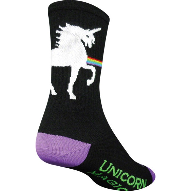 SockGuy Unicorn Express Crew Socks - Black - Small/Medium (Black)