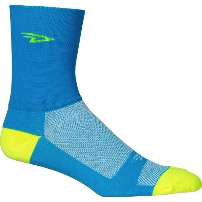 "DeFeet AirEator 5"" D Logo High Top Socks - Blue/Yellow - Medium (Blue/Yellow)"