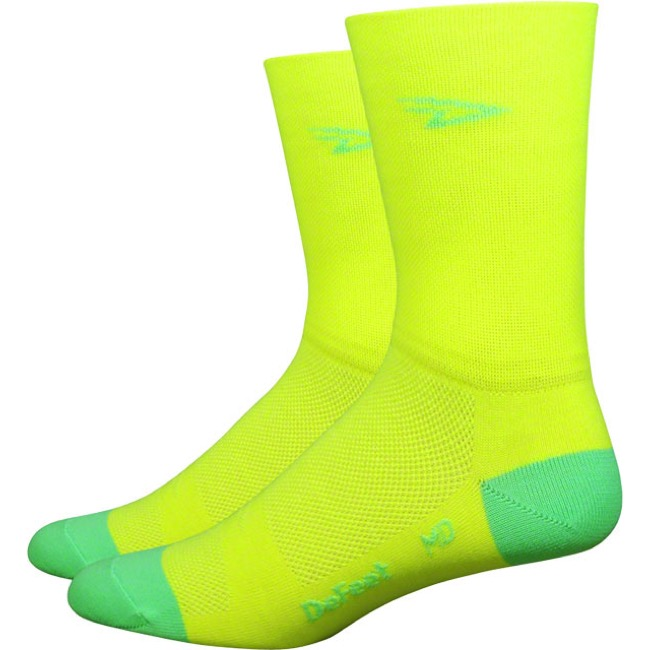 "DeFeet AirEator 5"" D Logo High Top Socks - Yellow/Green - X Large (Yellow/Green)"