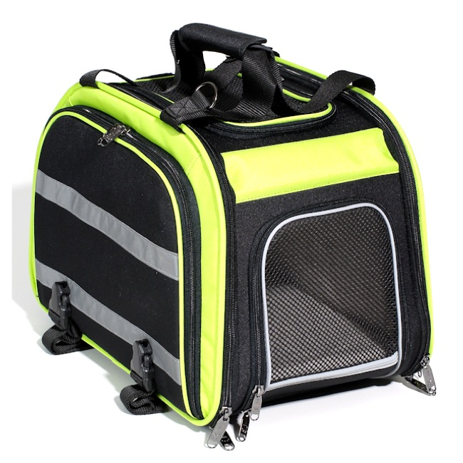 Nantucket Expandable Rear Rack Pet Carrier - Black/Green