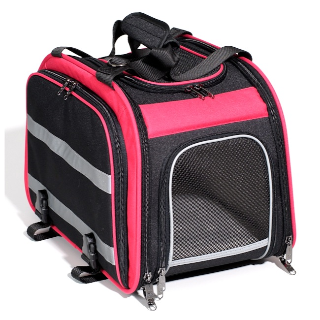 Nantucket Expandable Rear Rack Pet Carrier - Black/Pink
