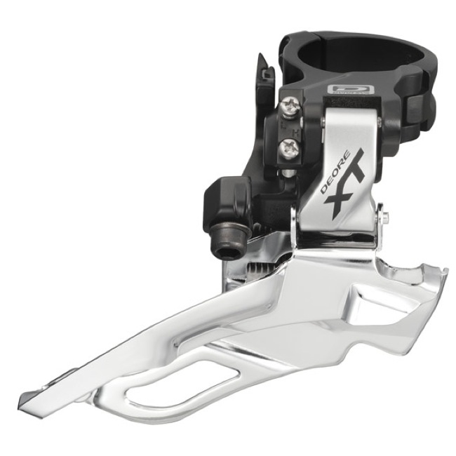 Shimano FD-M781 High Clamp Front Derailleur - 3 x 10 Speed - Silver, Dual Pull (28.6/31.8/34.9mm)