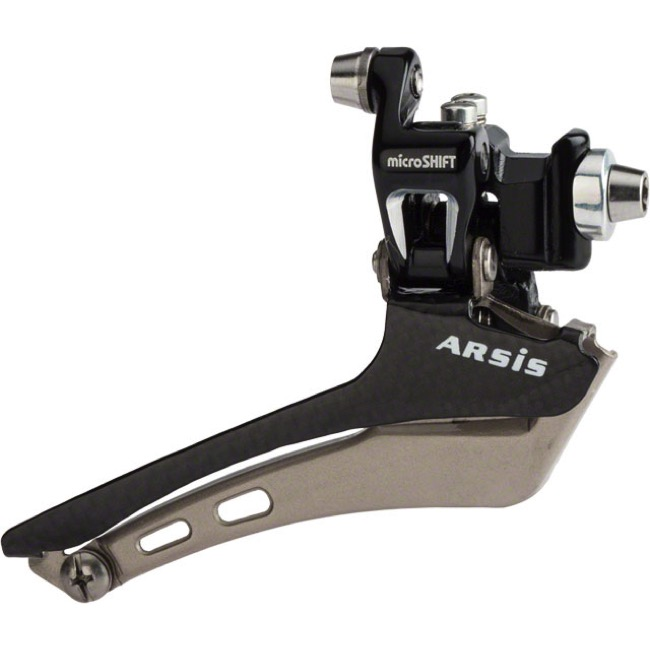 MicroShift FD-R88CF Arsis Double Front Derailleur - 10 Speed - Braze-On (Black)
