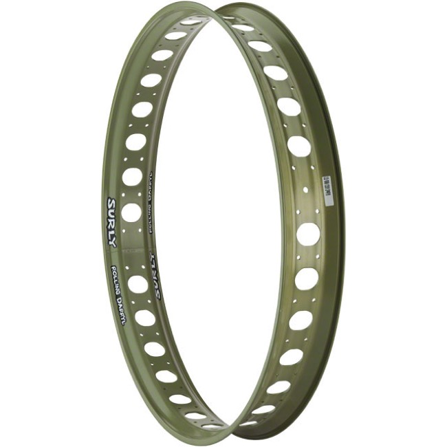 "Surly Rolling Darryl Rim - 26"" x 32 Hole, With Cutouts (Canvas Green)"