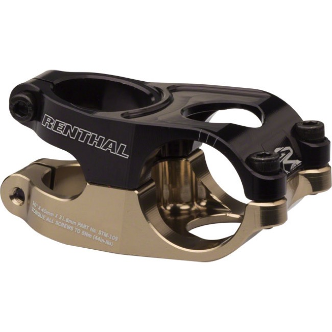 Renthal Duo Stem - 40mm x 10 deg x 31.8 Bar Clamp (AluGold/Black)