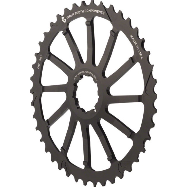 Wolf Tooth Components GC 40/42 Cogs - 10 Speed Shimano/Sram - 42 Tooth, Black (Sram 36t Compatible)