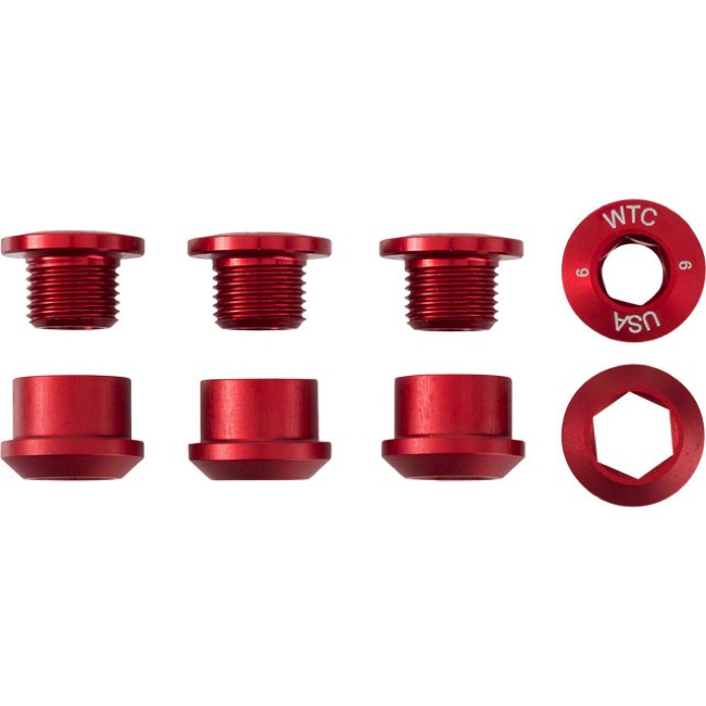 Wolf Tooth Components Chainring Bolt/Nut Sets - 8 Piece (Red)