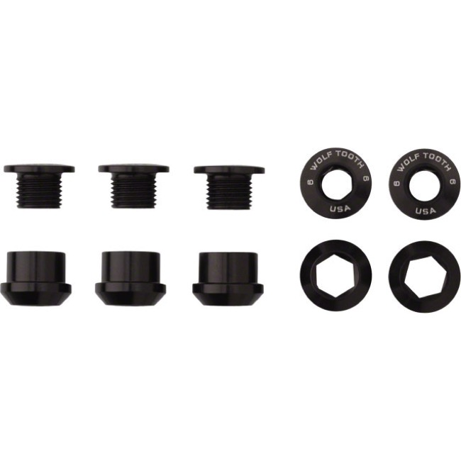 Wolf Tooth Components Chainring Bolt/Nut Sets - 10 Piece (Black)