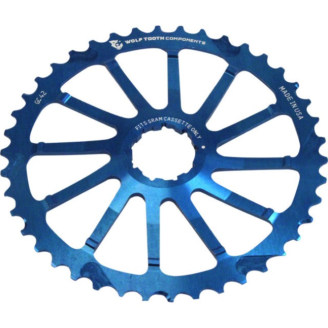 Wolf Tooth Components GC 40/42 Cogs - 10 Speed Shimano/Sram - 42 Tooth, Blue (Sram 36t Compatible)