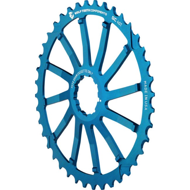 Wolf Tooth Components GC 40/42 Cogs - 10 Speed Shimano/Sram - 40 Tooth, Blue (Sram 36t Compatible)