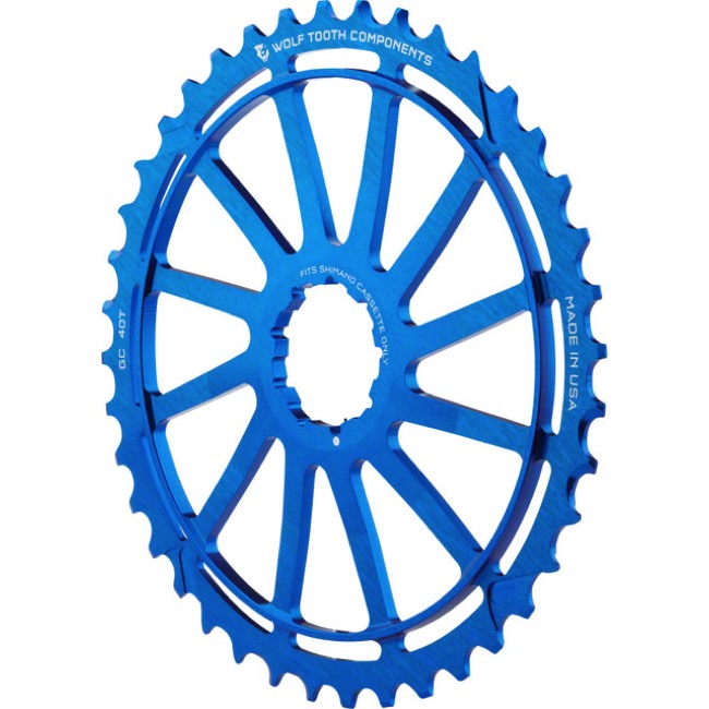 Wolf Tooth Components GC 40/42 Cogs - 10 Speed Shimano/Sram - 40 Tooth, Blue (Shimano 36t Compatible)