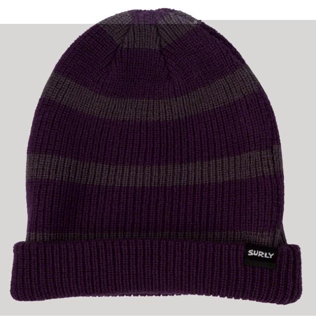 583b3a296a7 Surly Merino Wool Beanie - Gray Purple Stripe - One Size (Gray Purple