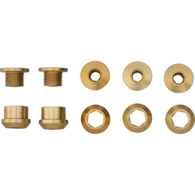 Wolf Tooth Components Chainring Bolt/Nut Sets - 10 Piece (Gold)