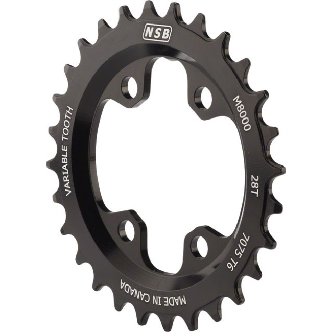 North Shore Billet Variable Tooth Chainrings - 64mm x 28t (Black)
