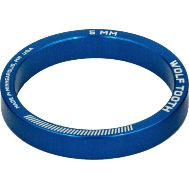 "Wolf Tooth Components Headset Spacers - 1 1/8"" x 5mm Bag of 5 (Blue)"