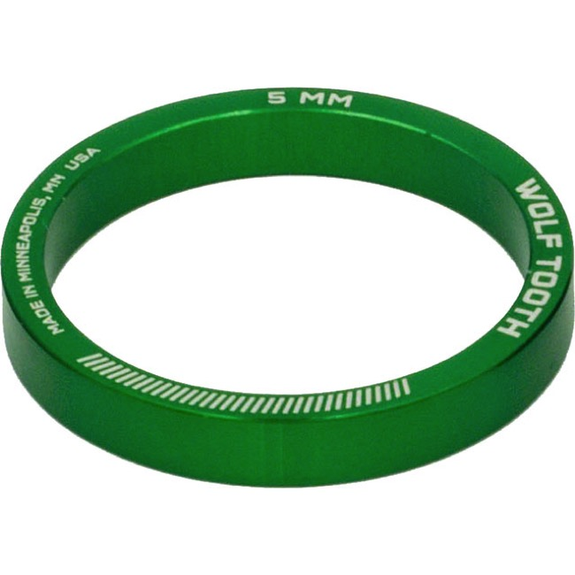 "Wolf Tooth Components Headset Spacers - 1 1/8"" x 5mm Bag of 5 (Green)"