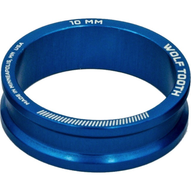 "Wolf Tooth Components Headset Spacers - 1 1/8"" x 10mm Bag of 5 (Blue)"