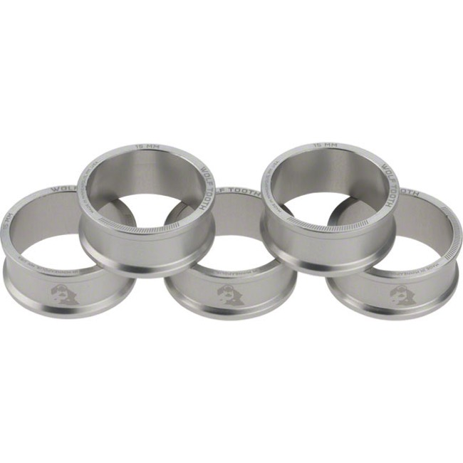 "Wolf Tooth Components Headset Spacers - 1 1/8"" x 15mm Bag of 5 (Silver)"