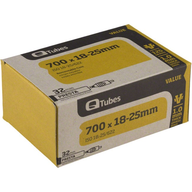 Q Tubes Value Series Presta Tubes - 700c - 700 x 18-25c (32mm PV)
