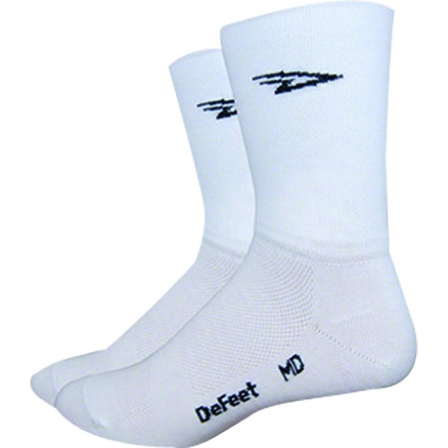 "DeFeet Aireator 5"" Double Cuff Socks - White - Large (White)"