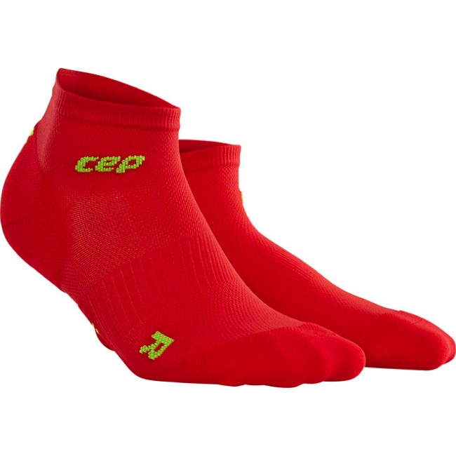 CEP Dynamic+ Cycle Ultralight Low Cut Women's Sock - Red/Green - Size 4, 9.5-10 (Red/Green)