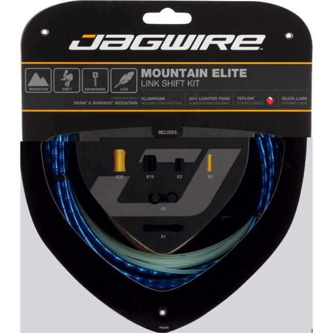 Jagwire Mountain Elite Link Shift Cable Set 2016 - Teflon Coated Cables - Kit, Teflon Coated Cables (Blue Housing)