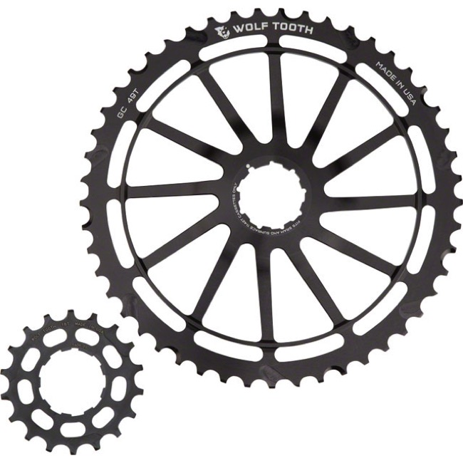 Wolf Tooth Components GC 49 Cog Bundles - 11 Speed Sram NX/SunRace - 49 Tooth + 18 Tooth Cog, Sram NX/SunRace 11 Speed (Black)