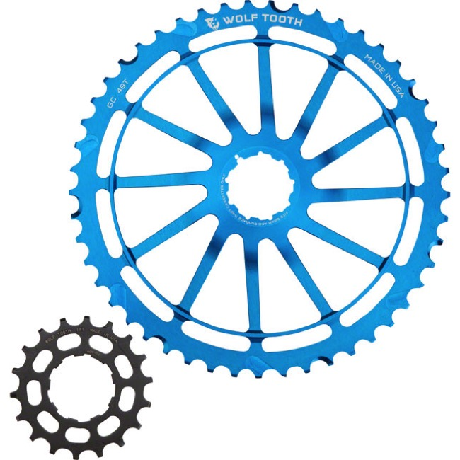 Wolf Tooth Components GC 49 Cog Bundles - 11 Speed Sram NX/SunRace - 49 Tooth + 18 Tooth Cog, Sram NX/SunRace 11 Speed (Blue)