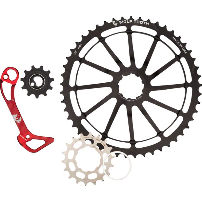 Wolf Tooth Components GC 49 Cog/WolfCage Bundles - 11 Speed Shimano - 49 Tooth + 18 Tooth Cog + WolfCage GS, Shimano 11 Speed, GS (Red)