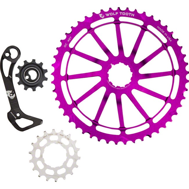 Wolf Tooth Components GC 49 Cog/WolfCage Bundles - 11 Speed Shimano - 49 Tooth + 18 Tooth Cog + WolfCage GS, Shimano 11 Speed, GS (Purple)