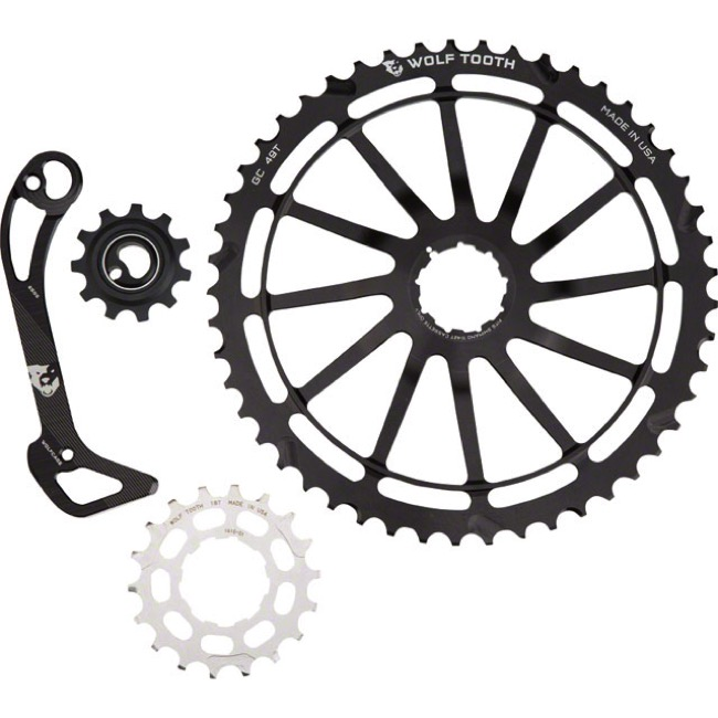 Wolf Tooth Components GC 49 Cog/WolfCage Bundles - 11 Speed Shimano - 49 Tooth + 18 Tooth Cog + WolfCage SGS, Shimano 11 Speed (Black)