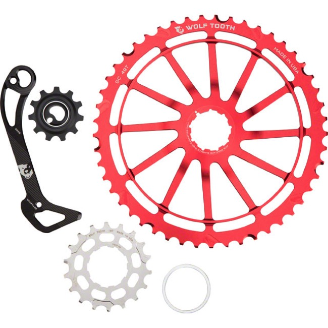 Wolf Tooth Components GC 49 Cog/WolfCage Bundles - 11 Speed Shimano - 49 Tooth + 18 Tooth Cog + WolfCage SGS, Shimano 11 Speed (Red)