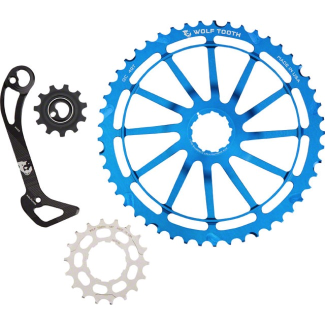 Wolf Tooth Components GC 49 Cog/WolfCage Bundles - 11 Speed Shimano - 49 Tooth + 18 Tooth Cog + WolfCage SGS, Shimano 11 Speed (Blue)