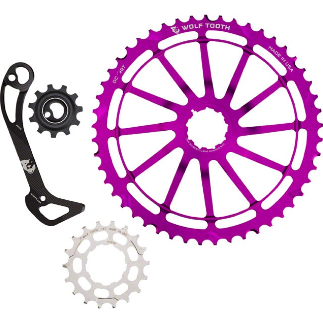 Wolf Tooth Components GC 49 Cog/WolfCage Bundles - 11 Speed Shimano - 49 Tooth + 18 Tooth Cog + WolfCage SGS, Shimano 11 Speed (Purple)