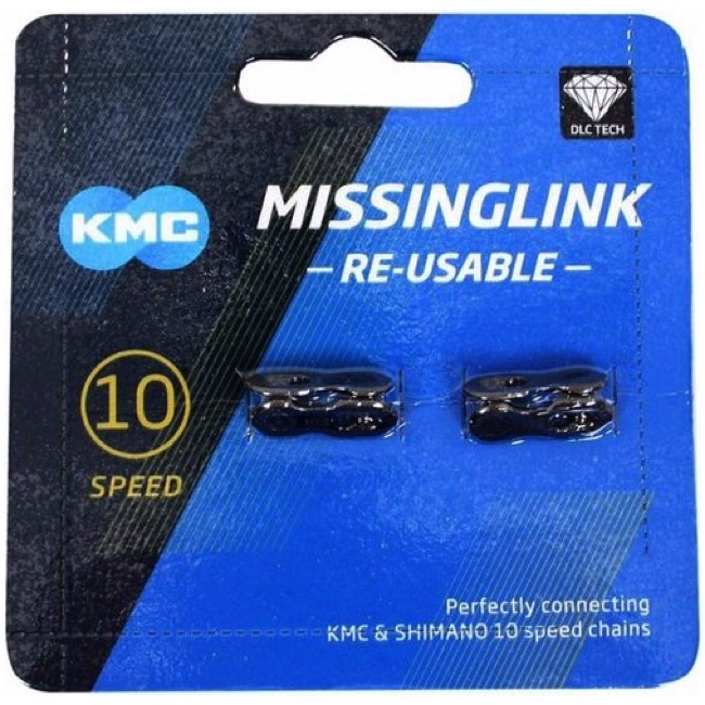 KMC Missing Link Connectors - MissingLink-10R DLC 10sp Chain, KMC/Shimano/Sram, Re-usable (2/Card)