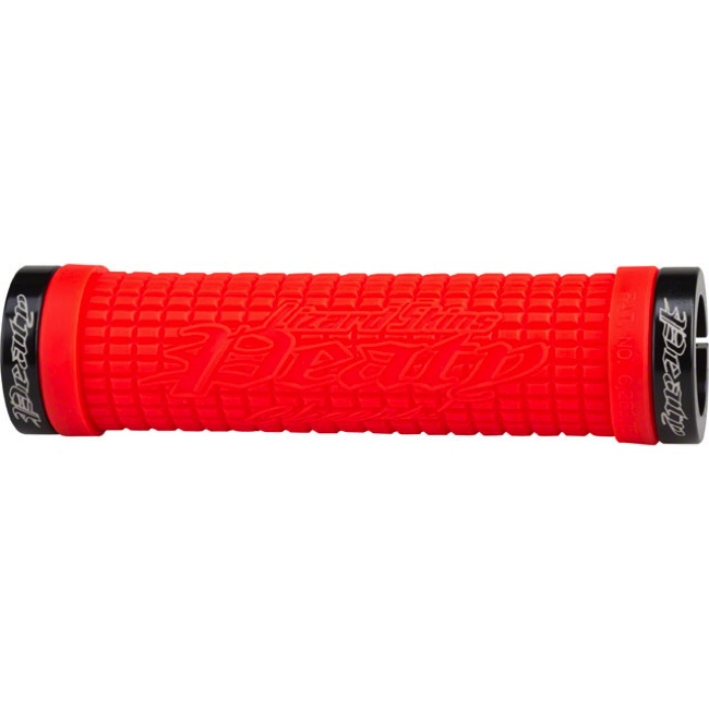 "Lizard Skins Peaty ""Cheers"" Lock-On Grips  - 130mm (Fire Red Grips/Black Clamps)"