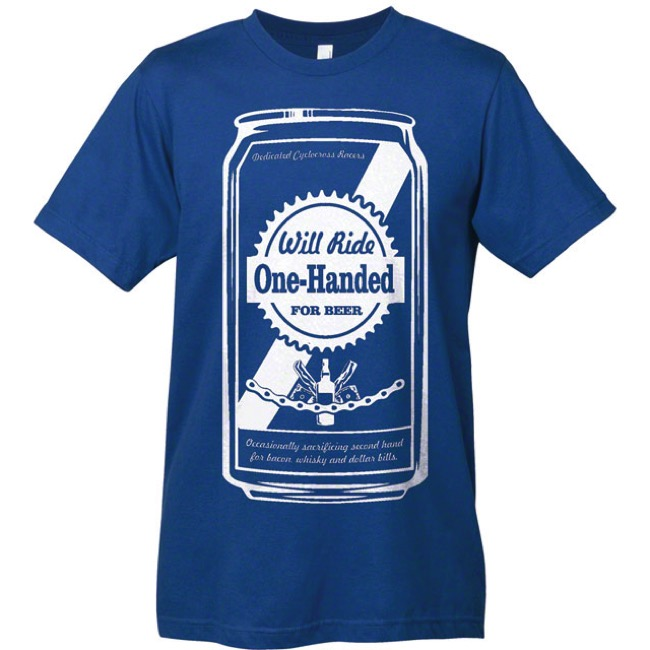 Mechanical Threads Hand Up Beer T-Shirt - Blue - Large (Blue)