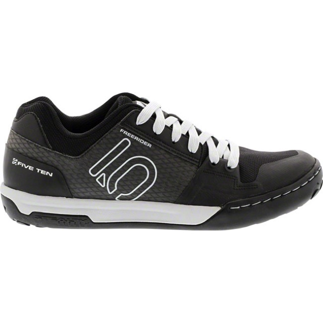 Five Ten Freerider Contact Flat Shoes - Black/Clear Grey/White - Size 12 (Black/Clear Grey/White)