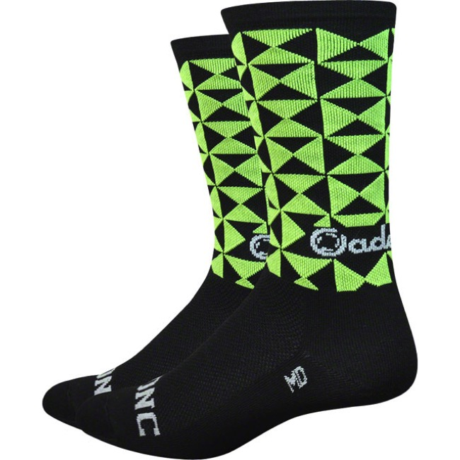 "DeFeet Aireator 6"" Cadence Socks - Black/Green - Large (Black/Green)"