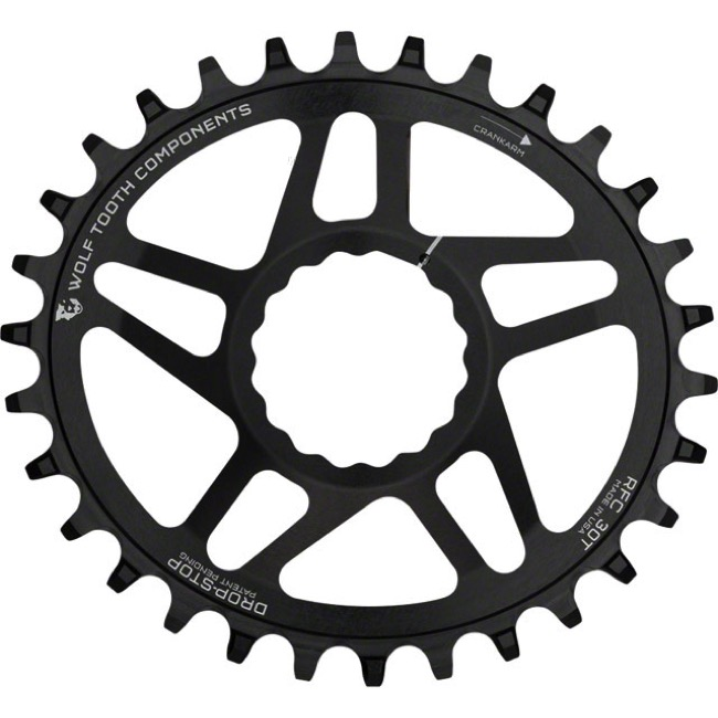 "Wolf Tooth DM PowerTrac Elliptical Boost Chainring - Fits Race Face Cinch ""Boost"" Cranks - 30 Tooth ""Boost"" Cinch Direct Mount (Black)"
