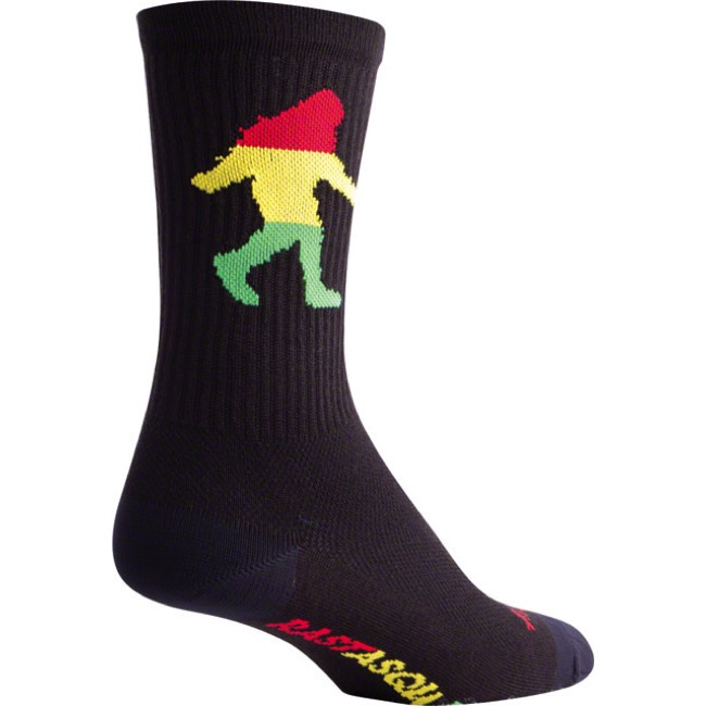 "SockGuy Rasta Squatch Crew Socks - 6"" Crew Cuff - Small/Medium (Black)"