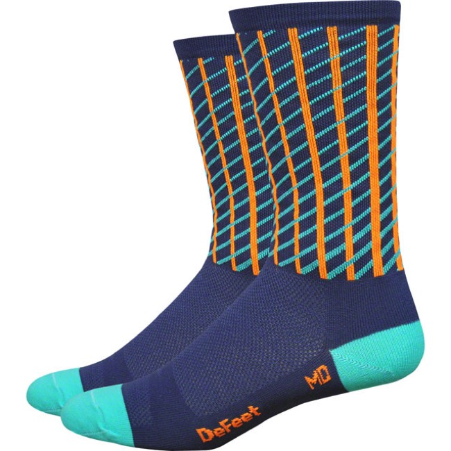 "Defeet Aireator 6"" Net Socks - Charcoal/Celeste/Orange - Large (Charcoal/Celeste/Orange)"