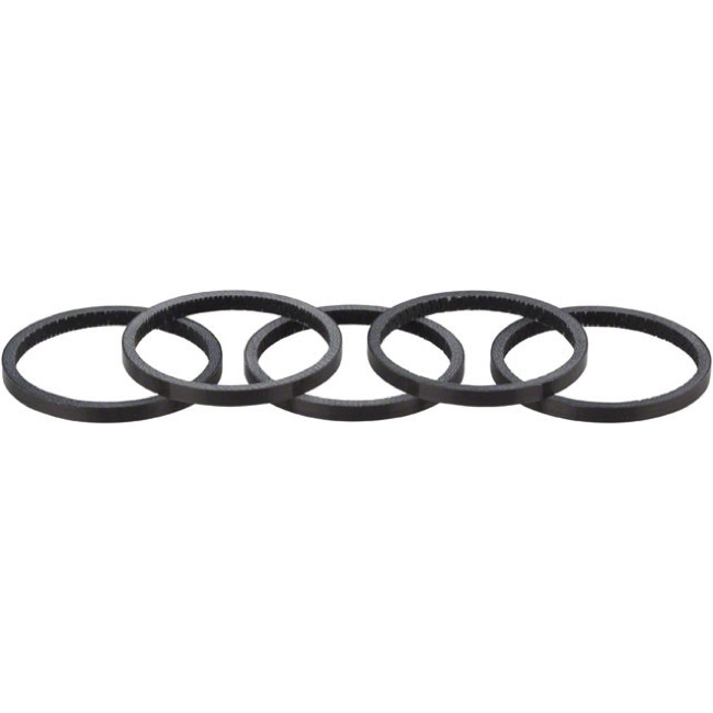 Whisky Parts Co. Carbon Headset Spacer Kits - 2.5mm, 5-Pack (Black Gloss)