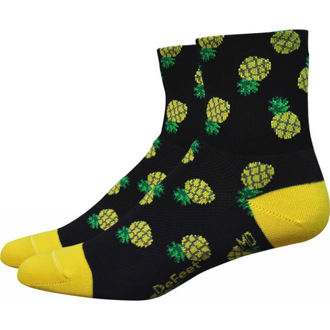 "Defeet Aireator 3"" Pineapple Womens Socks - Black/Green/Yellow - Large (Black/Green/Yellow)"